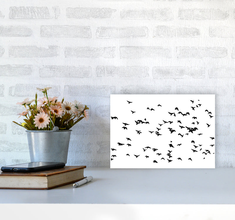 Flock Of Birds Landscape Art Print by Pixy Paper A4 Black Frame