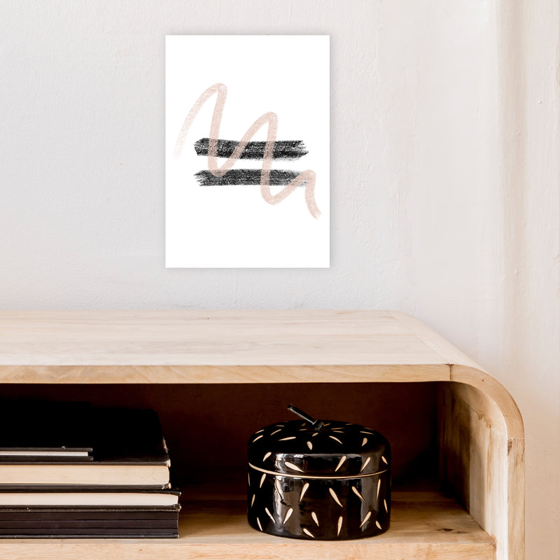 Dalia Chalk Pink And Black Line Contrast  Art Print by Pixy Paper A4 Black Frame
