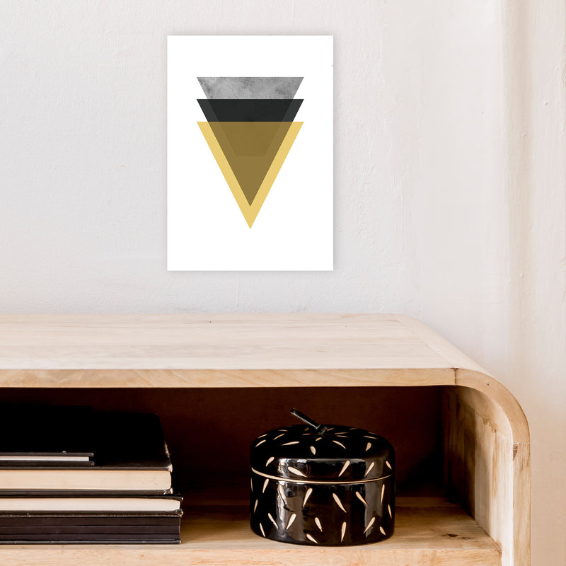 Geometric Mustard And Black Triangles  Art Print by Pixy Paper A4 Black Frame