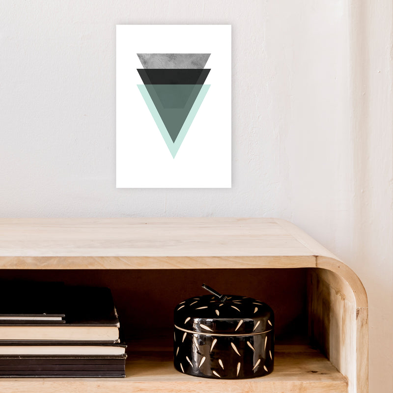 Geometric Mint And Black Triangles  Art Print by Pixy Paper A4 Black Frame