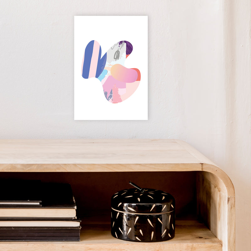 Pink Butterfly Abstract Shape  Art Print by Pixy Paper A4 Black Frame