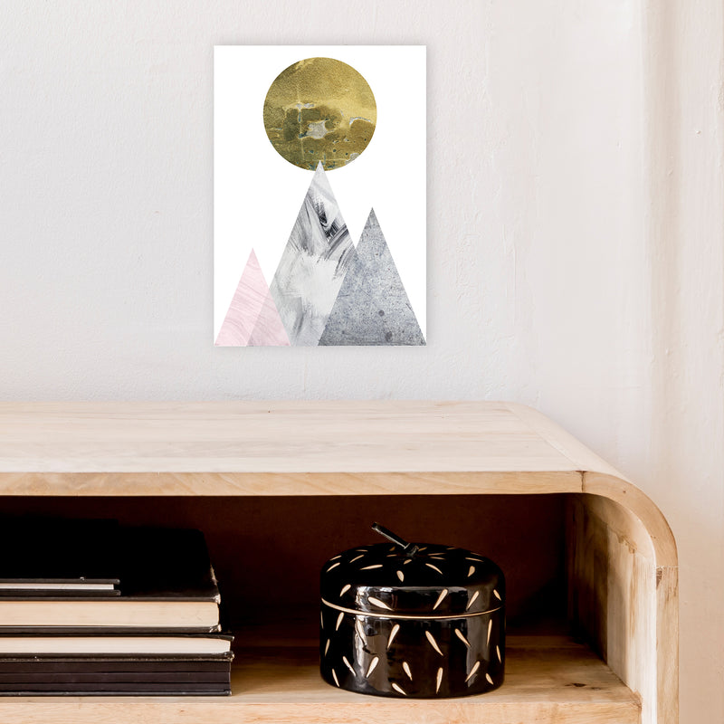 Luna Gold Moon And Mountains  Art Print by Pixy Paper A4 Black Frame