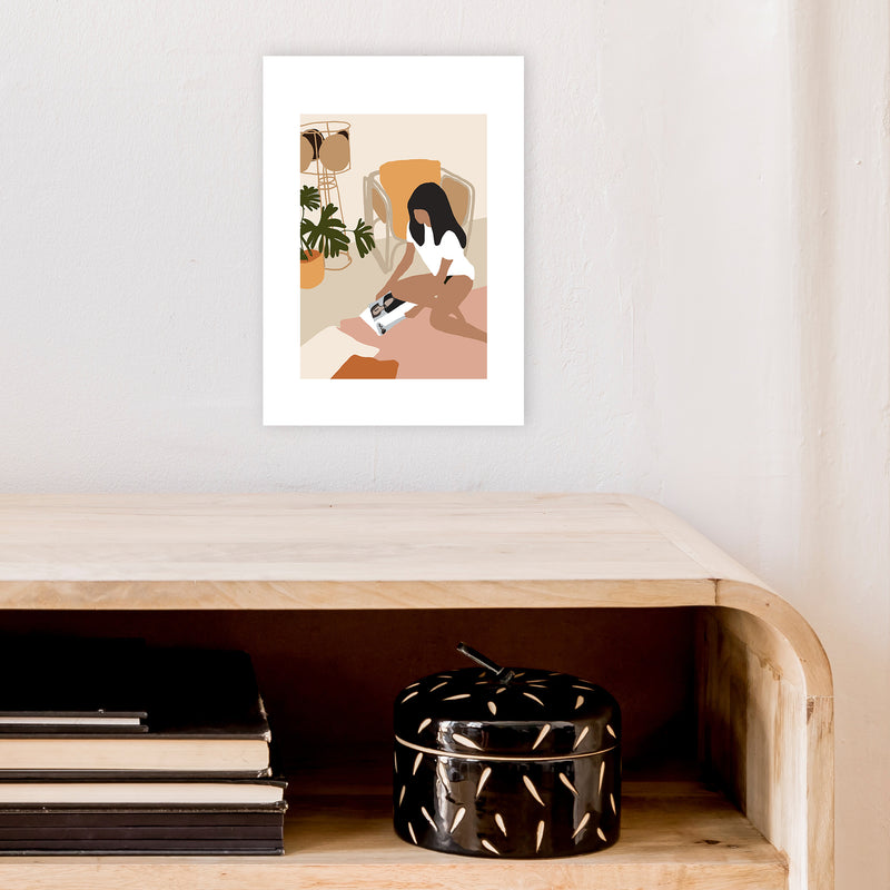 Mica Girl With Magazine N4  Art Print by Pixy Paper A4 Black Frame