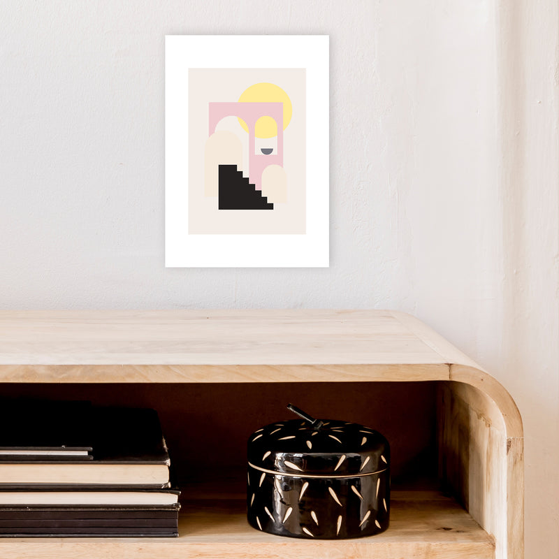 Mila Pink Stairs To Sun N6  Art Print by Pixy Paper A4 Black Frame