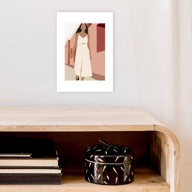 Mica Girl In Street N7  Art Print by Pixy Paper A4 Black Frame