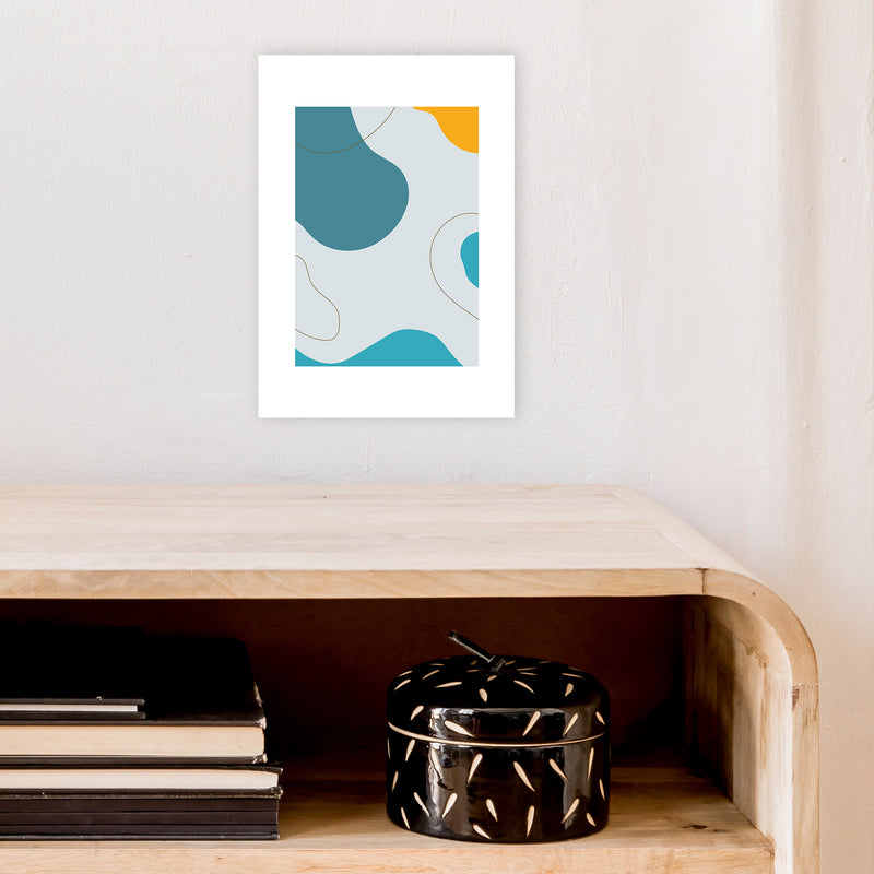 Mita Teal Abstract N16  Art Print by Pixy Paper A4 Black Frame