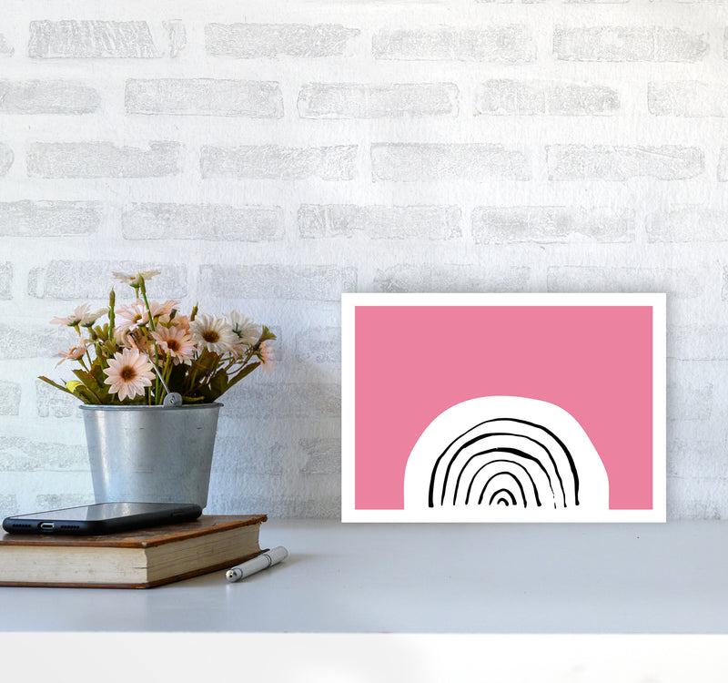 Pink Rainbow Neon Funk  Art Print by Pixy Paper A4 Black Frame