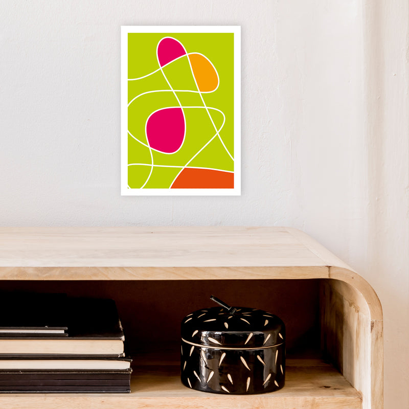Lime Mess Neon Funk  Art Print by Pixy Paper A4 Black Frame