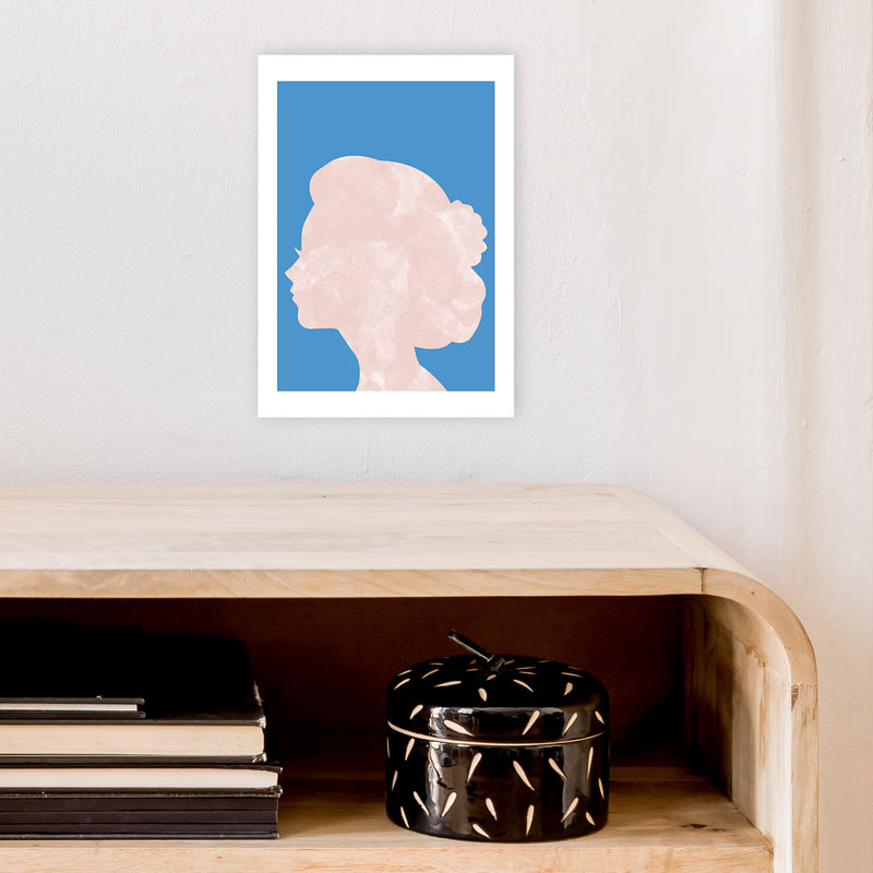 Marble Head Blue  Art Print by Pixy Paper A4 Black Frame