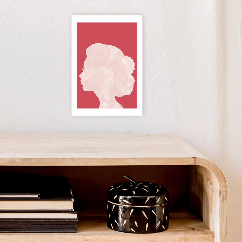Marble Head Red  Art Print by Pixy Paper A4 Black Frame