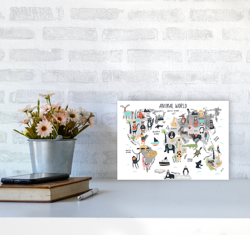Animal World Map  Art Print by Pixy Paper A4 Black Frame
