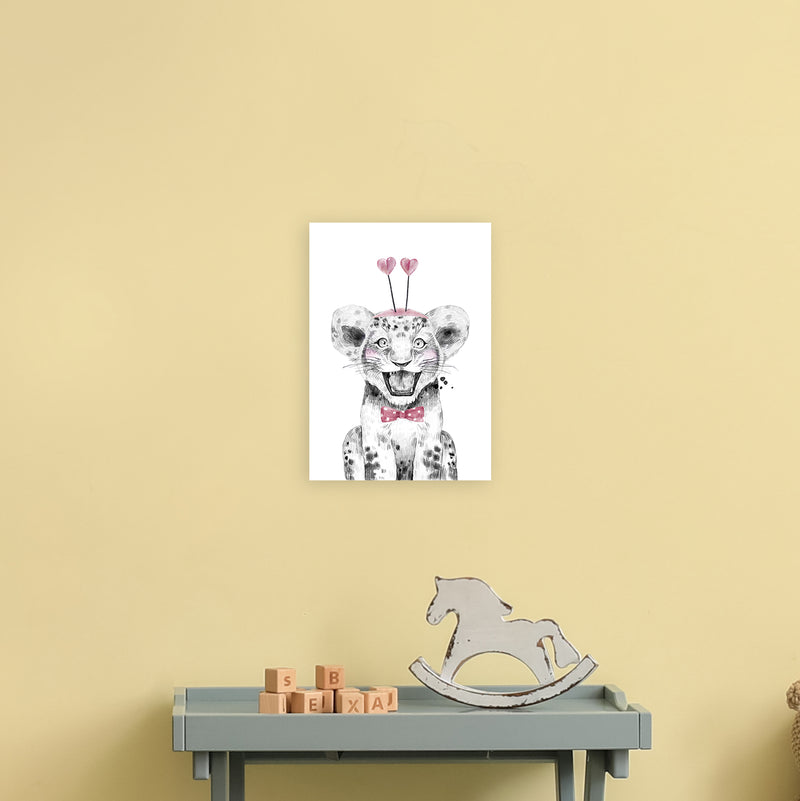 Safari Babies Tiger With Heart Hat  Art Print by Pixy Paper A4 Black Frame