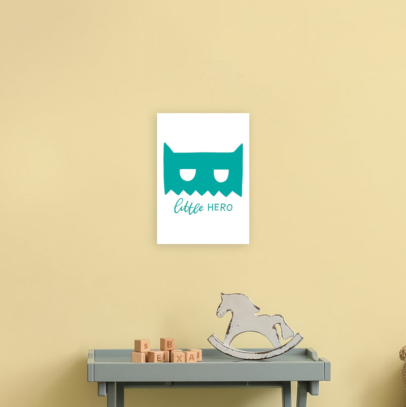 Little Hero Mask Teal Super Scandi  Art Print by Pixy Paper A4 Black Frame