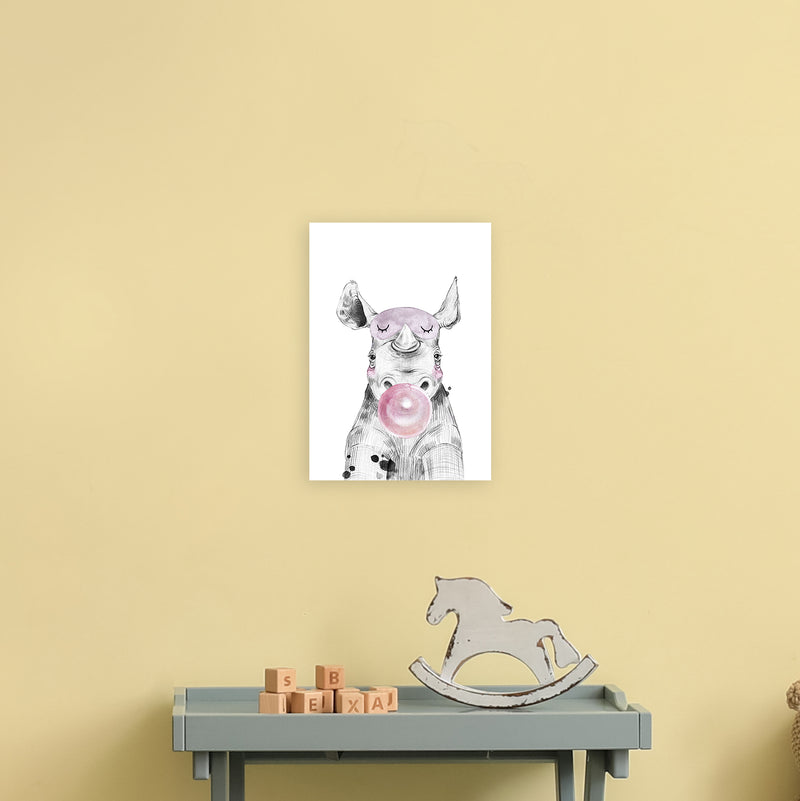 Safari Babies Rhino With Bubble  Art Print by Pixy Paper A4 Black Frame