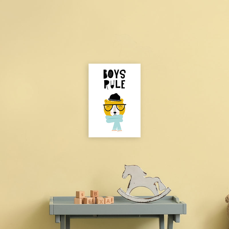 Boys Rule Animal Pop  Art Print by Pixy Paper A4 Black Frame