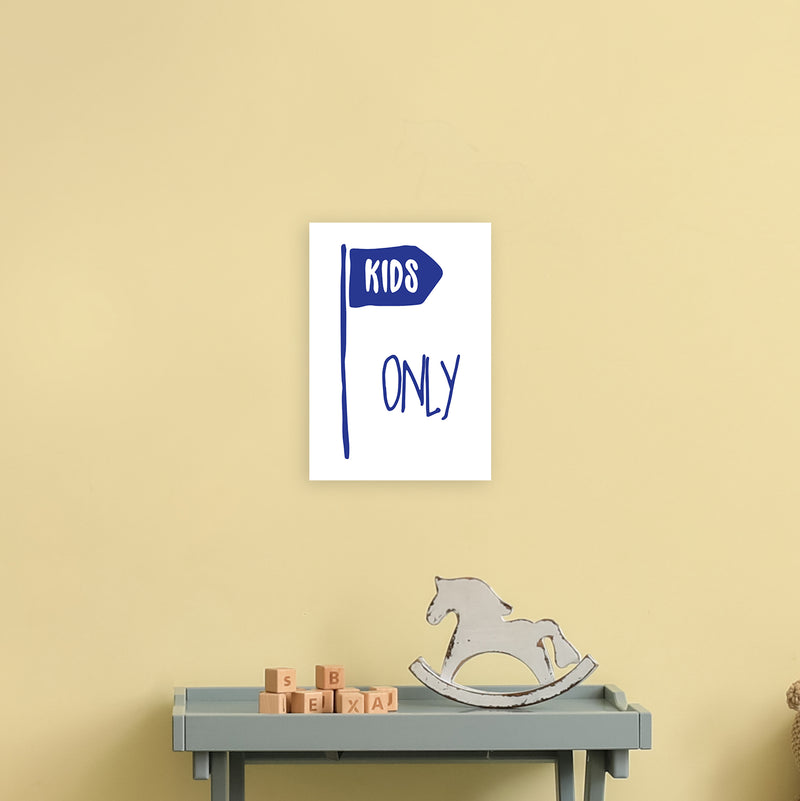 Kids Only Navy  Art Print by Pixy Paper A4 Black Frame