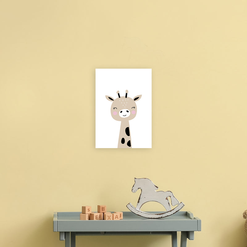 Giraffe Brown  Art Print by Pixy Paper A4 Black Frame