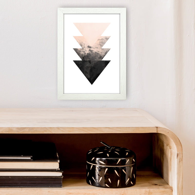 Nude And Black Watercolour 4 Art Print by Pixy Paper A4 Oak Frame