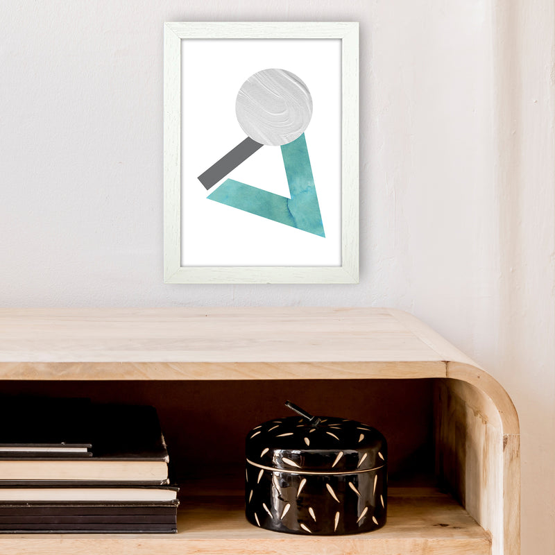 Marble Teal And Silver 3 Art Print by Pixy Paper A4 Oak Frame