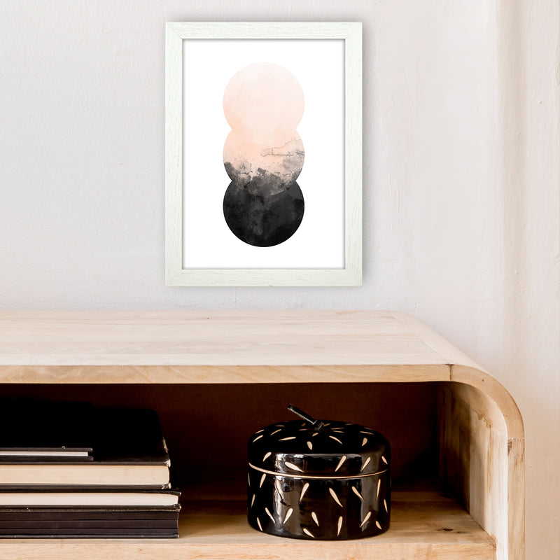Nude And Black Watercolour 5 Art Print by Pixy Paper A4 Oak Frame
