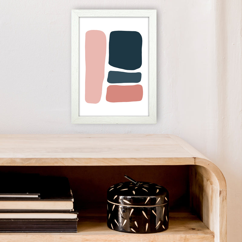 Pink And Navy Abstract Stones 3 Art Print by Pixy Paper A4 Oak Frame