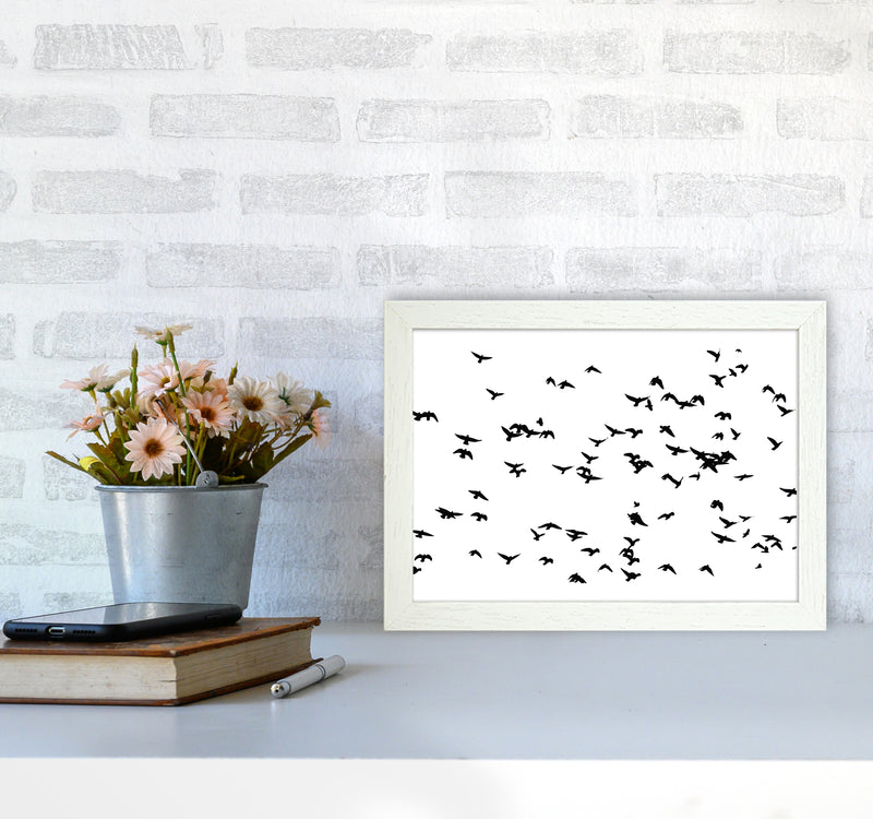 Flock Of Birds Landscape Art Print by Pixy Paper A4 Oak Frame