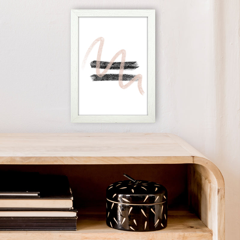Dalia Chalk Pink And Black Line Contrast  Art Print by Pixy Paper A4 Oak Frame
