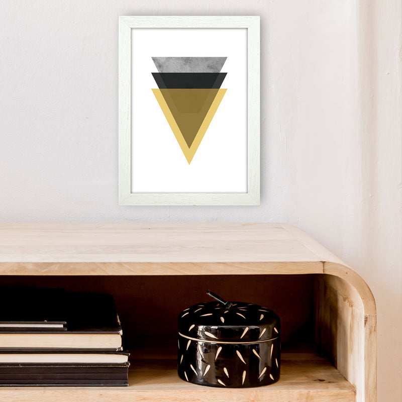 Geometric Mustard And Black Triangles  Art Print by Pixy Paper A4 Oak Frame