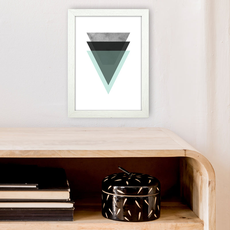 Geometric Mint And Black Triangles  Art Print by Pixy Paper A4 Oak Frame