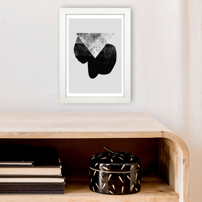 Graffiti Black And Grey Triangle  Art Print by Pixy Paper A4 Oak Frame