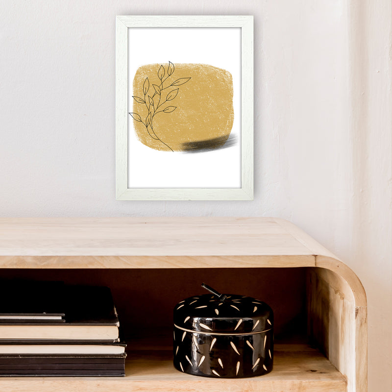 Dalia Chalk Gold Floral Square  Art Print by Pixy Paper A4 Oak Frame