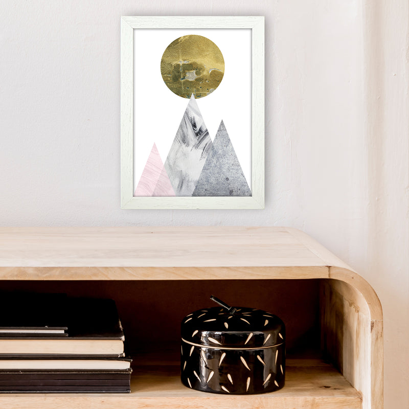Luna Gold Moon And Mountains  Art Print by Pixy Paper A4 Oak Frame