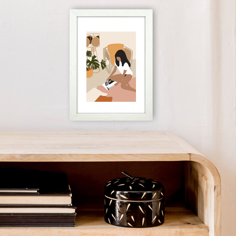 Mica Girl With Magazine N4  Art Print by Pixy Paper A4 Oak Frame