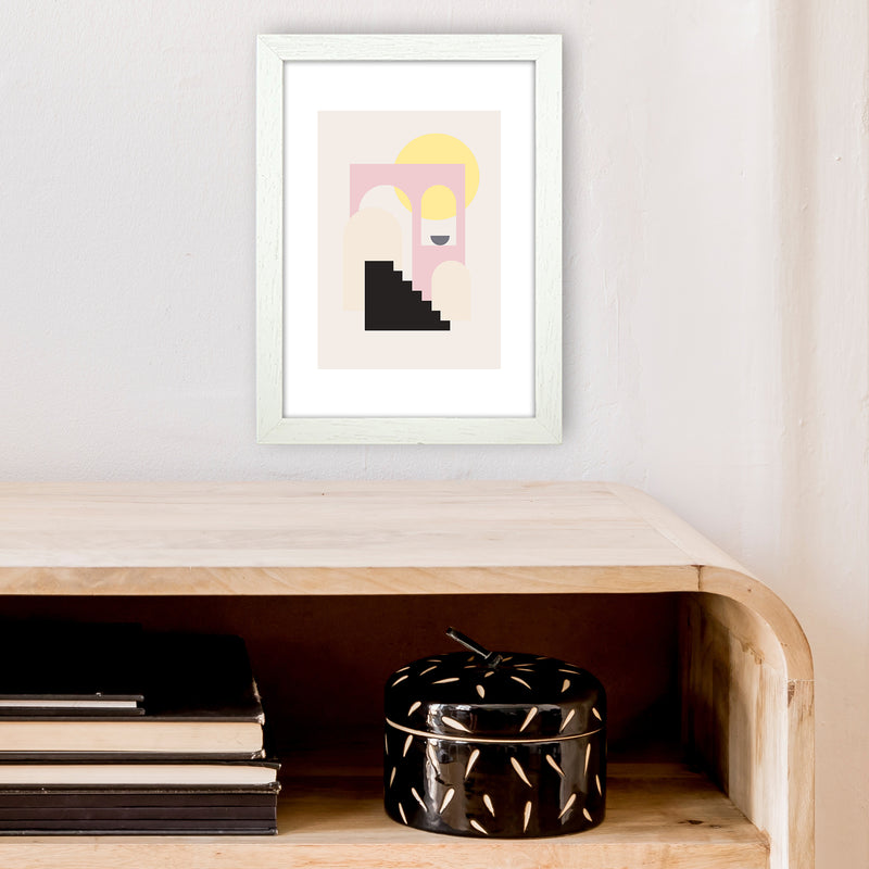 Mila Pink Stairs To Sun N6  Art Print by Pixy Paper A4 Oak Frame