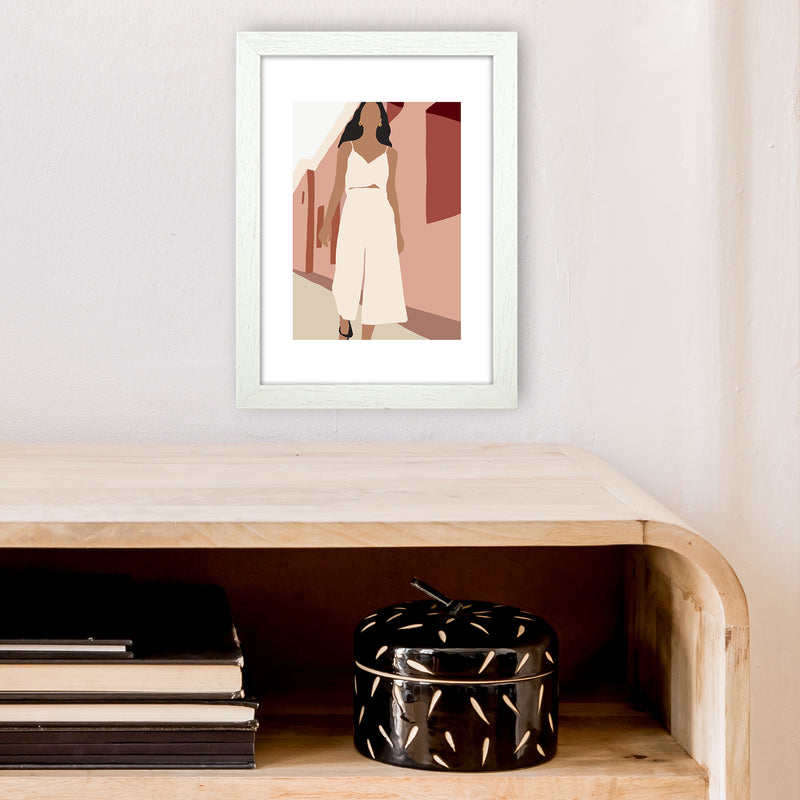 Mica Girl In Street N7  Art Print by Pixy Paper A4 Oak Frame