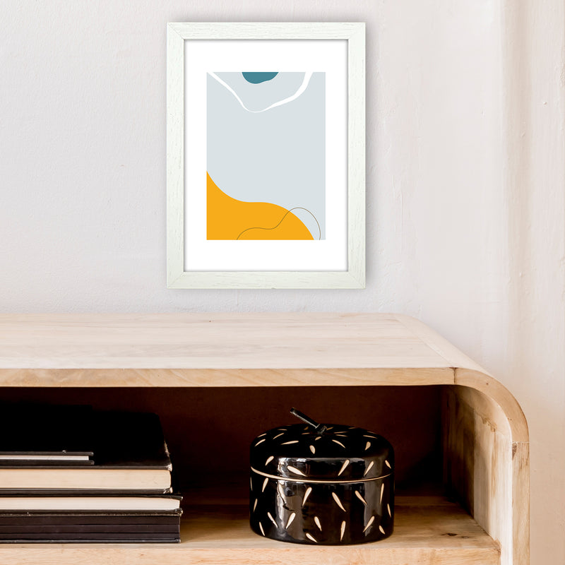 Mita Teal Abstract N21  Art Print by Pixy Paper A4 Oak Frame