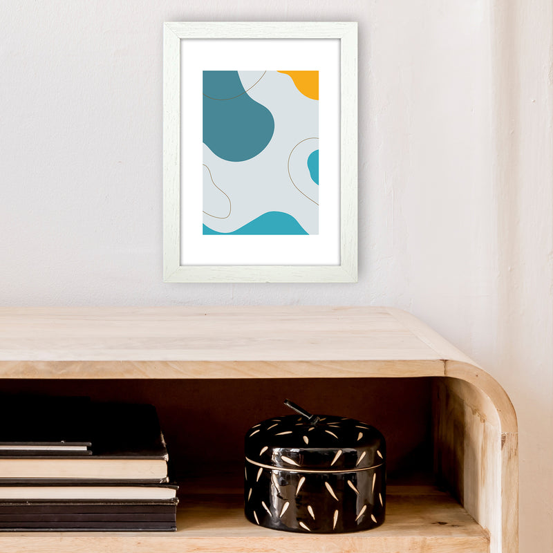 Mita Teal Abstract N16  Art Print by Pixy Paper A4 Oak Frame