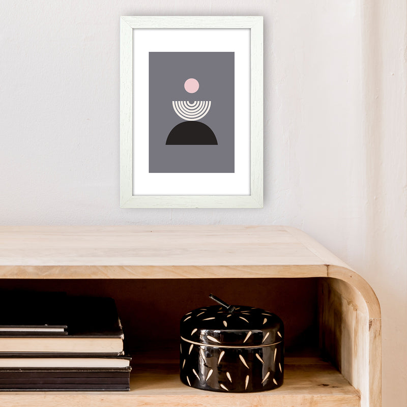 Mila Pink Fountain N9  Art Print by Pixy Paper A4 Oak Frame