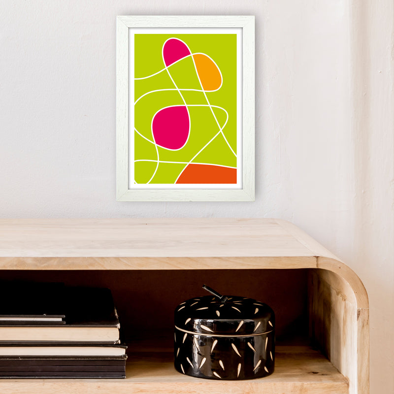 Lime Mess Neon Funk  Art Print by Pixy Paper A4 Oak Frame