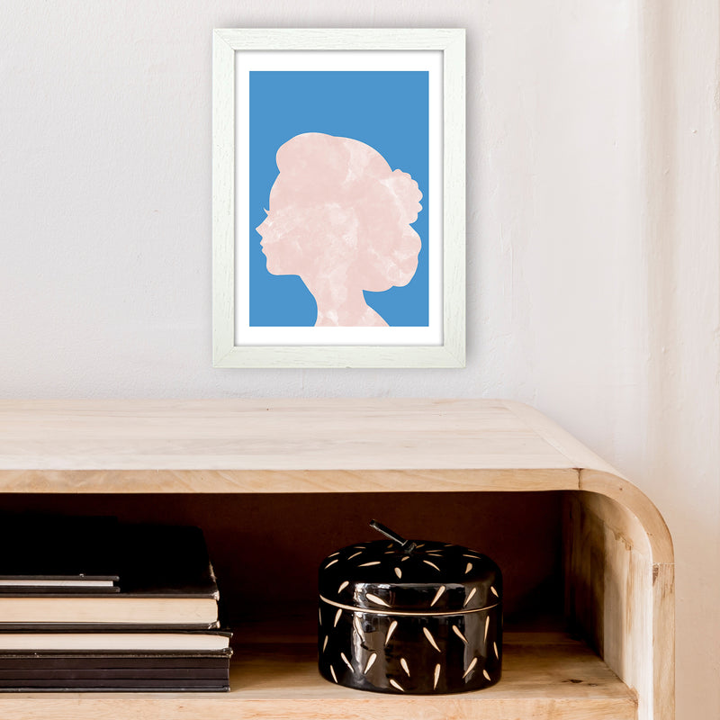 Marble Head Blue  Art Print by Pixy Paper A4 Oak Frame