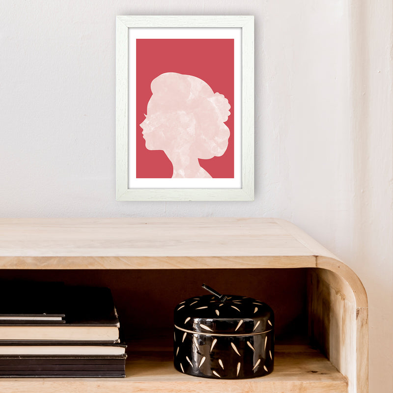 Marble Head Red  Art Print by Pixy Paper A4 Oak Frame