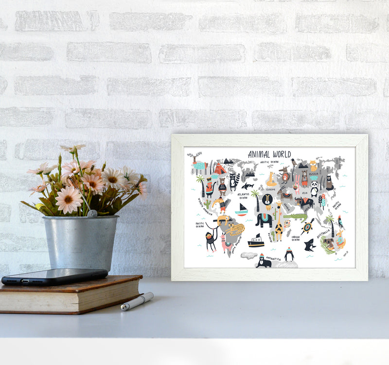 Animal World Map  Art Print by Pixy Paper A4 Oak Frame