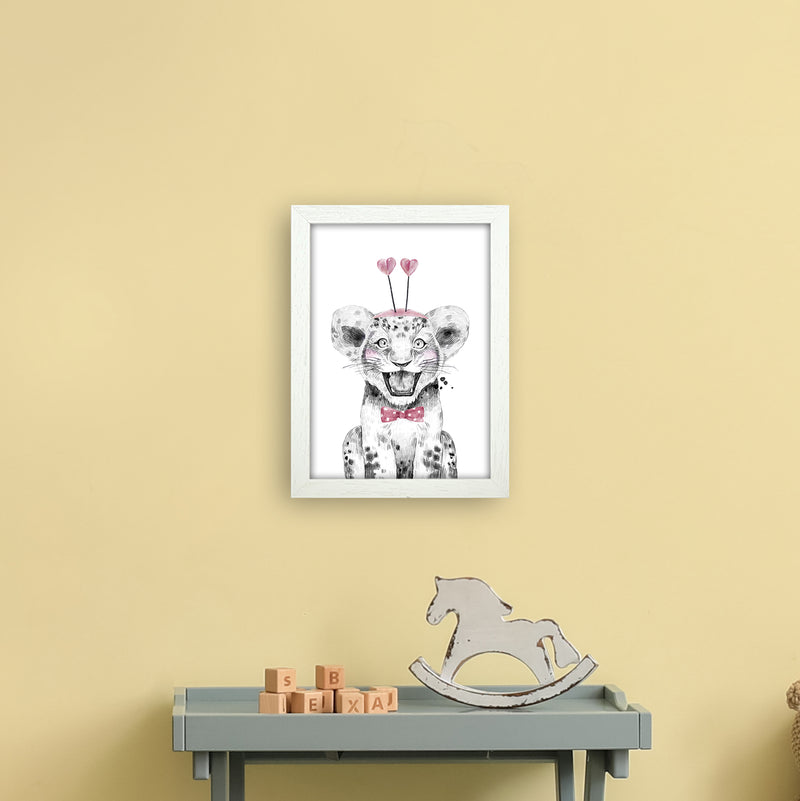 Safari Babies Tiger With Heart Hat  Art Print by Pixy Paper A4 Oak Frame