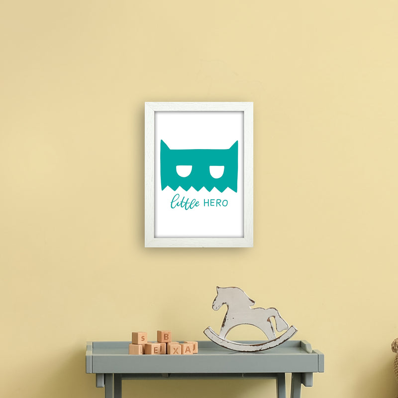 Little Hero Mask Teal Super Scandi  Art Print by Pixy Paper A4 Oak Frame