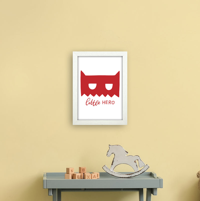 Little Hero Mask Red Super Scandi  Art Print by Pixy Paper A4 Oak Frame