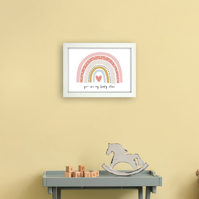 You Are My Happy Place Rainbow  Art Print by Pixy Paper A4 Oak Frame