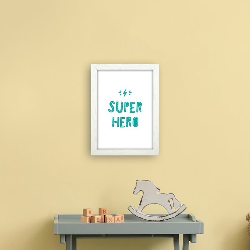 Super Hero Teal Super Scandi  Art Print by Pixy Paper A4 Oak Frame