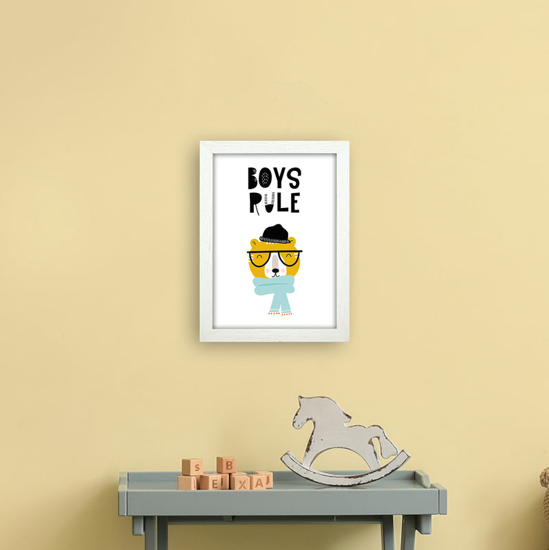 Boys Rule Animal Pop  Art Print by Pixy Paper A4 Oak Frame