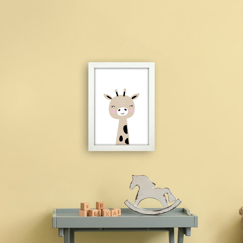 Giraffe Brown  Art Print by Pixy Paper A4 Oak Frame
