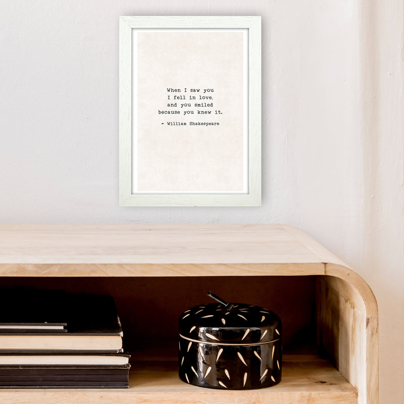 When I Saw You - Shakespeare  Art Print by Pixy Paper A4 Oak Frame